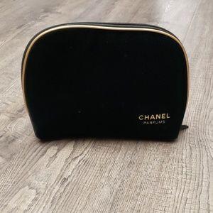 Chanel Parfums Black Velvet Pouch/Cosmetic Bag